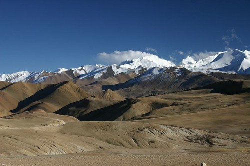 Fabulous mountain views just after the Tong La Pass (5050m). Tibet.