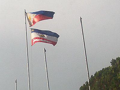 ARMM Flag under Philippine Flag