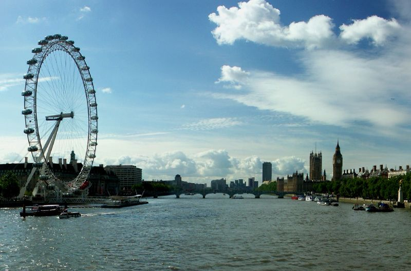 View from Hungerford Bridge in London showing London Eye and Palace of Westminster