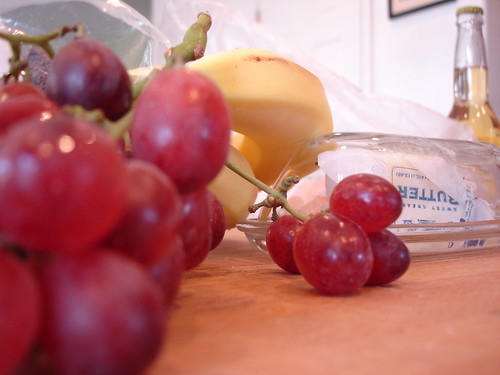 butter, bannana, beer & grapes
