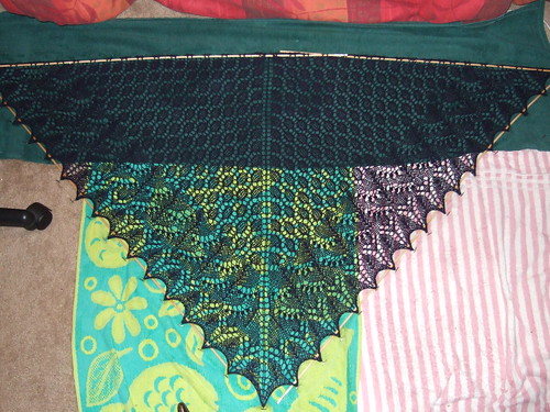 Swallowtail Lace Shawl Blocking