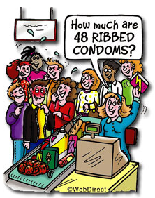 embarrased at a store buying condoms