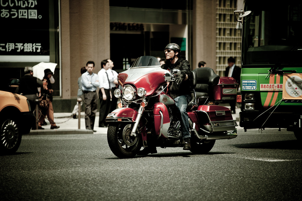 Downtown biker
