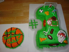 boys sports first birthday cake photo by Charley And The Cake Factory