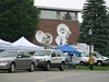 Satellite Trucks Outside of Stoutenburgh Gymnasium