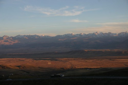 Sunset over the Kyrgyz mountains near Issyk-Kul...
