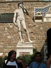 Statue Tiruan David Di Luar Palazzo Vecchio, Florence, Italy
