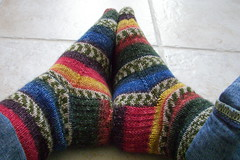 Self-striping socks
