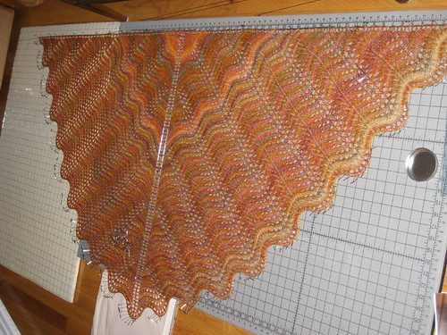 Falling Leaves Shawl - blocking