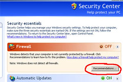 firewall setting, disable notification, win xp, window xp