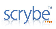 Scrybe's logotype features a flaccid y resting on a white high-lacquer table