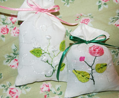Lavender bags with ribbon embroidery