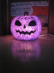Lit purple pumpkin