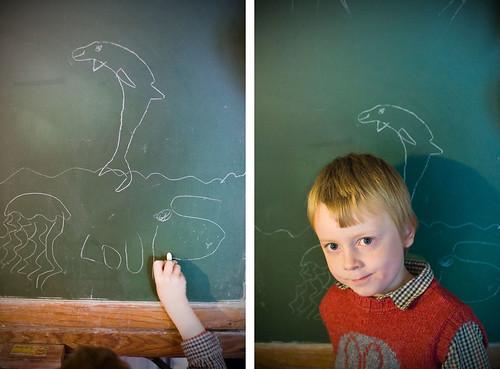 Louis tekent de zee