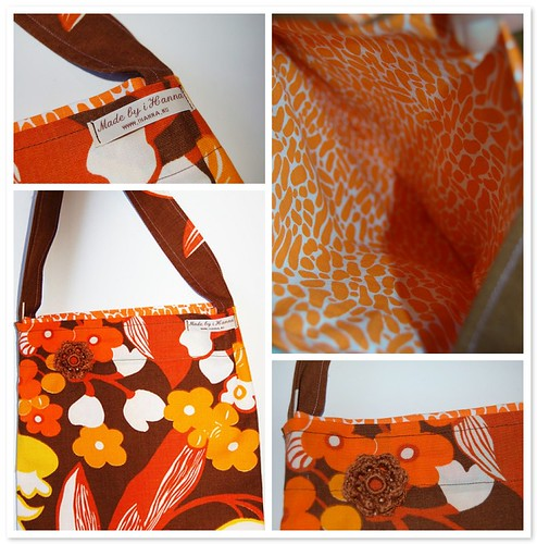 Retro style recycled fabric bag