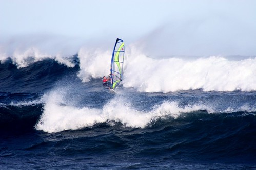 Windsurfer in the surf