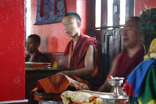 Monks at a Swayambunath monastery, Kathmandu