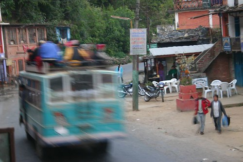 Local bus rushing through the village of Dolalghat...Mad drivers!