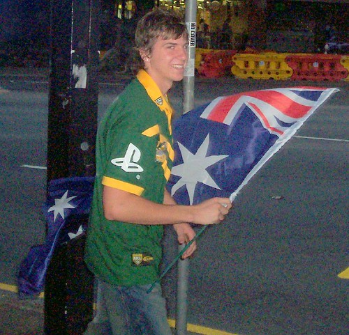 Australian supporter in George St, City, before the game - Kangaroos v British Lions Rugby League Test Match - Lang Park (Suncorp Stadium), Brisbane, Australia, November 18th 2006