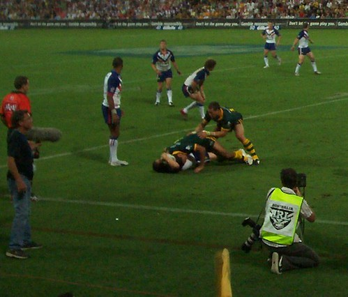 Australia tackles in defence - Kangaroos v British Lions Rugby League Test Match - Lang Park (Suncorp Stadium), Brisbane, Australia, November 18th 2006