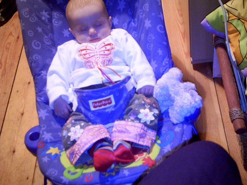In the bouncy chair, for a change!