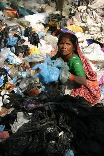 Sorting the trash in a Kathmandu suburb...