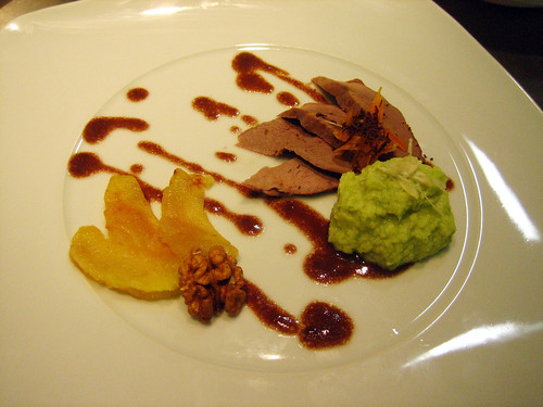 Duck w- Chocolate Sauce, Apples, and Cabbage Puree