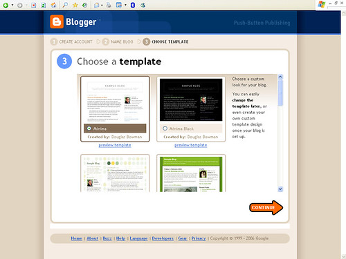 Blogger - Step 3: Choose a template