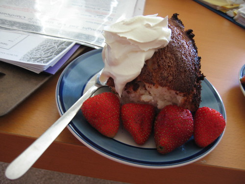 Angel food cake with whipped topping and perfect strawberries ... *sighs blissfully* ...