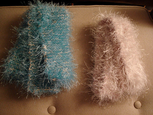 two fuzzy scarves