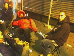 camping out in line for Playstation on Broadway