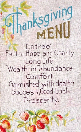 Thanksgiving Postcard 1912ish Menu