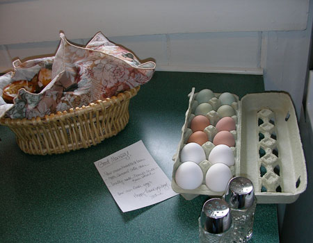 Farm fresh eggs and breads