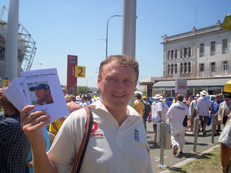 English fanzine seller outside the Gabba - The Ashes 2006-7 - First Test - Atmosphere in town, outside the Gabba, and watching the game on a big screen at the 'beach' in Southbank.