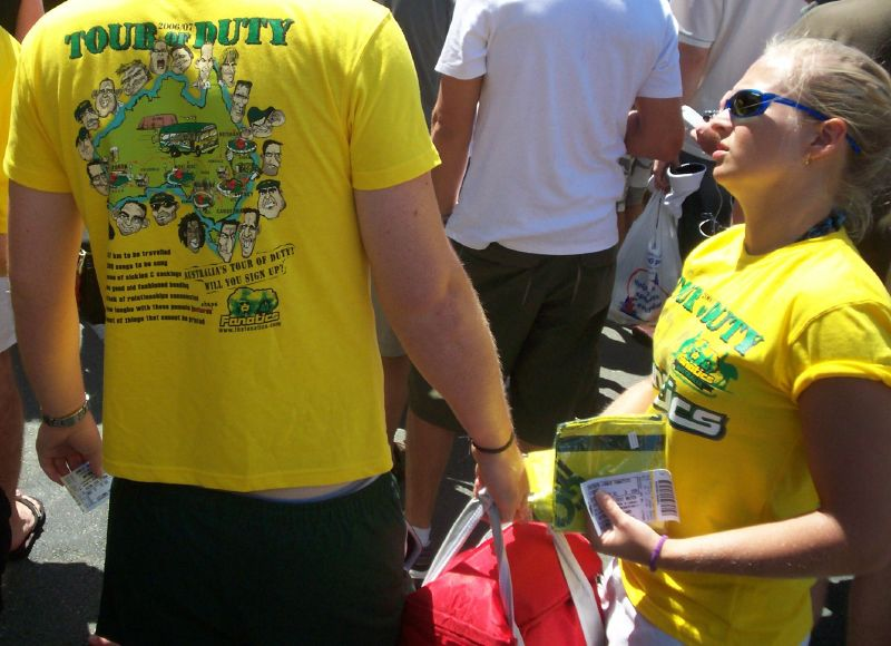 Fanatics' (Australian fans) 'Tour of Duty' T-shirts The Ashes 2006-7 - First Test - Atmosphere in town, outside the Gabba, and watching the game on a big screen at the 'beach' in Southbank.