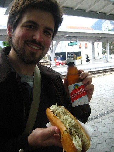 Rivella (ew) with sausage (yum) and Husbear (cute!)