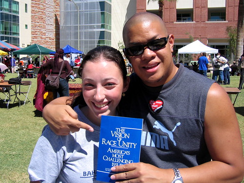 Shira and me, promoting unity on campus.