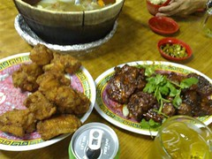 From left: shrimp paste chicken and some kind of beef ribs in a black bean sauce