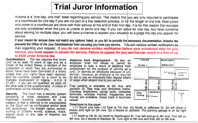Trial Juror Information