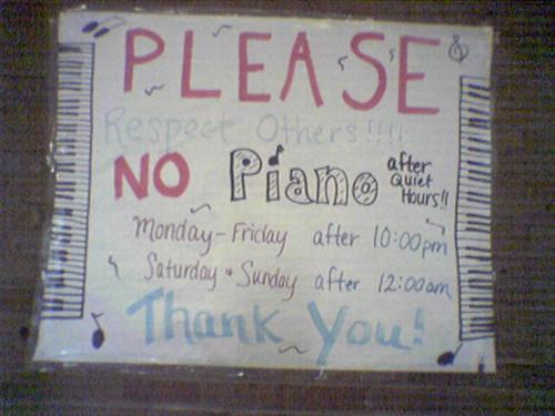 Please.  NO PIANO