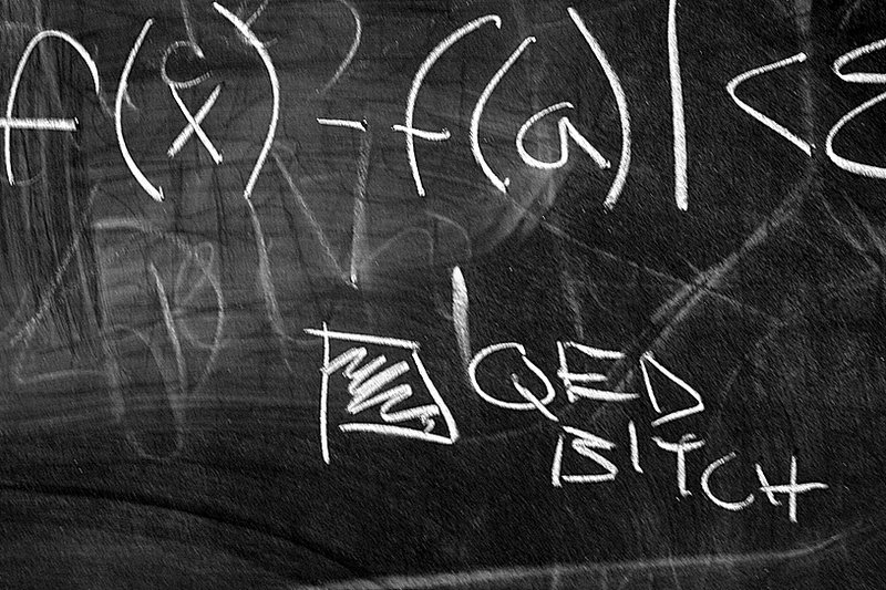 QED, bitch on the chalkboard