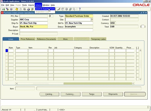 Oracle Form Personalization (PO Form 1)
