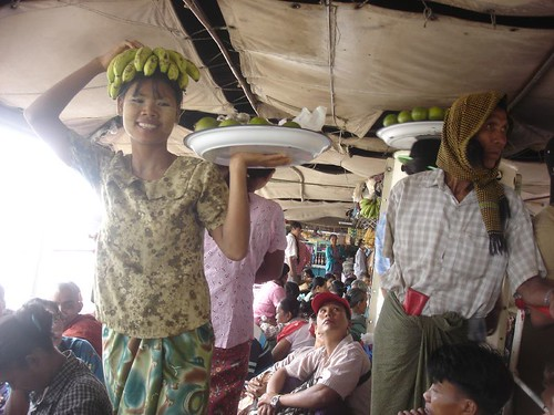 Banana lady on board the ferry from Mandalay to Bagan