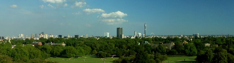 Primrose Hill in London, view over Regents Park, London Zoo and the rest of London