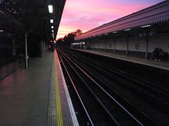 Sunset at Upton Park station
