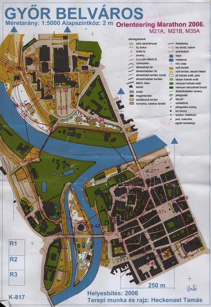 Tájfutó Maraton térkép - Győr belváros