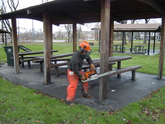 James cutting down a pavilion