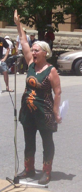 This speaker was sent by Aunty Margery Woodrow of the Sovereign Aboriginal Council of Elders2 - Justice for Mulrunji Rally at Queens Park and March through Brisbane City, Australia, November 18 2006