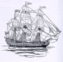 Left: 18th-century British gun ship known as a seventy-four