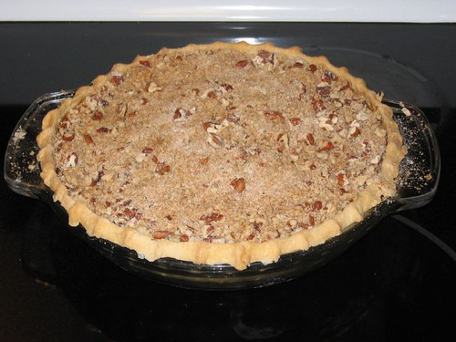 Apple Butter Pumpkin Pie with pecan streusel topping